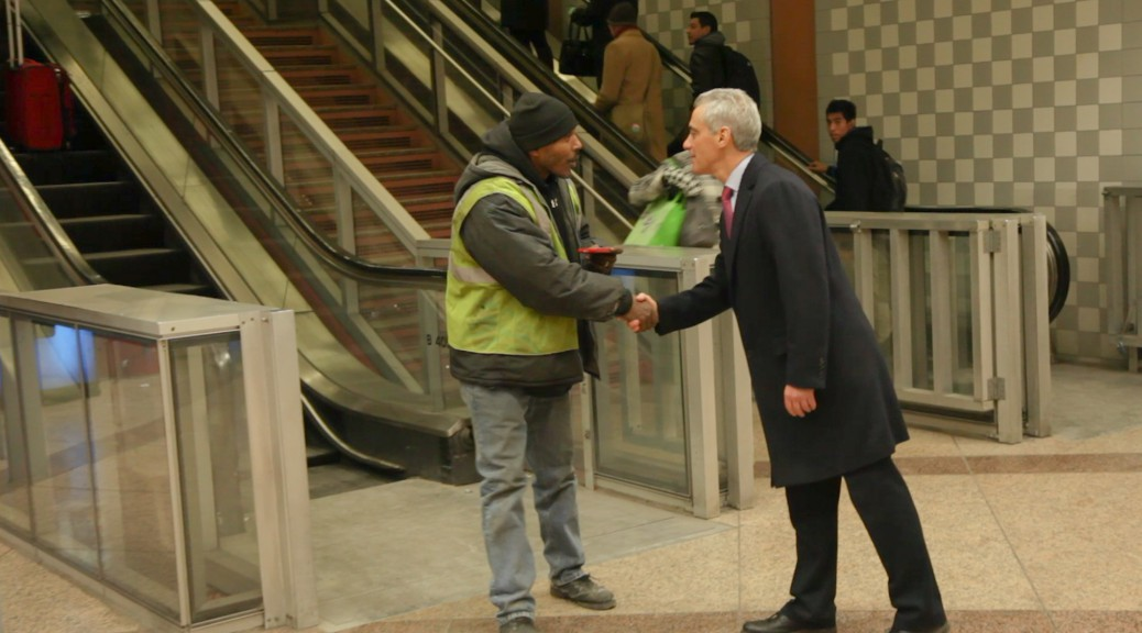 Mayor Rahm Emanuel greets Chicagoans at Clark and Lake CTA Station