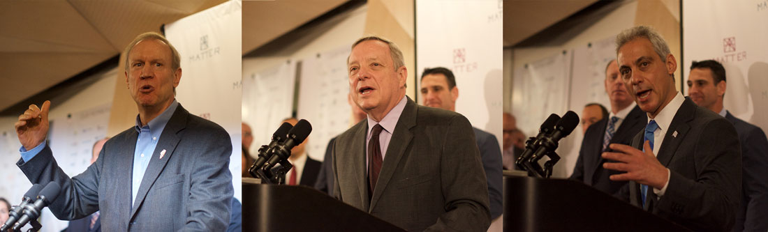 Gov. Bruce Rauner, Sen. Dick Durbin and Mayor Rahm Emanuel speak at MATTER's official opening ceremony Friday, emphasizing healthcare innovation's contribution to Illinois' economy.