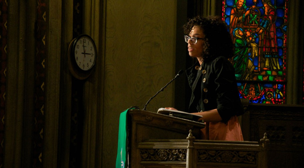 Page May speaks at an activism event