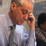 Chicago Mayor Rahm Emanuel calls voters at one of the field offices on the South Side. (Thomas Yau/Medill)