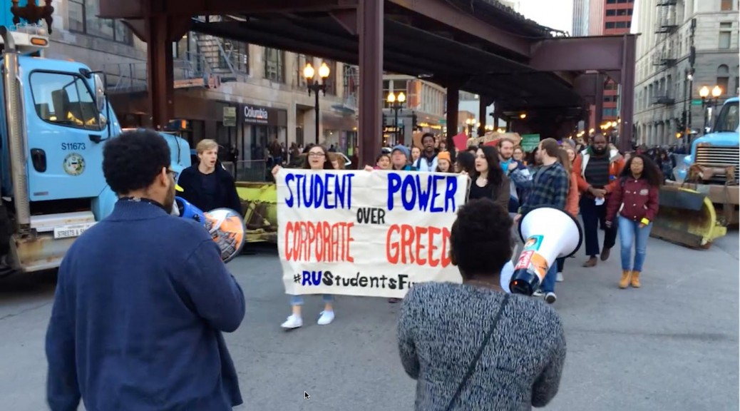 Students protest NFL Draft