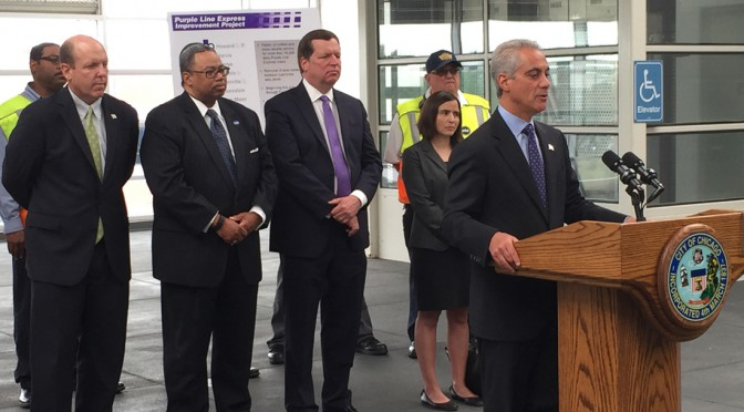 Mayor Rahm Emanuel and the CTA announce a new project to improve Purple Line Express reliability. (Anne Arntson/Medill)