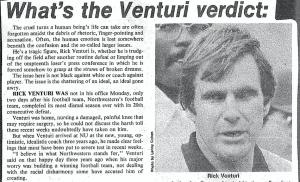 Rick Venturi's character was questioned after BAUL's grievances became public (Article by Roger Phillips, Daily Northwestern/ Courtesy of Northwestern Archives)