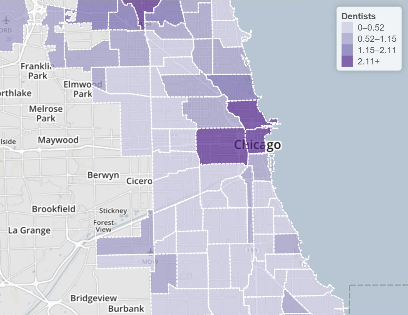 Practicing dentists per 1,000 residents by Chicago community area in 2010 - Courtesy of Chicago Health Atlas