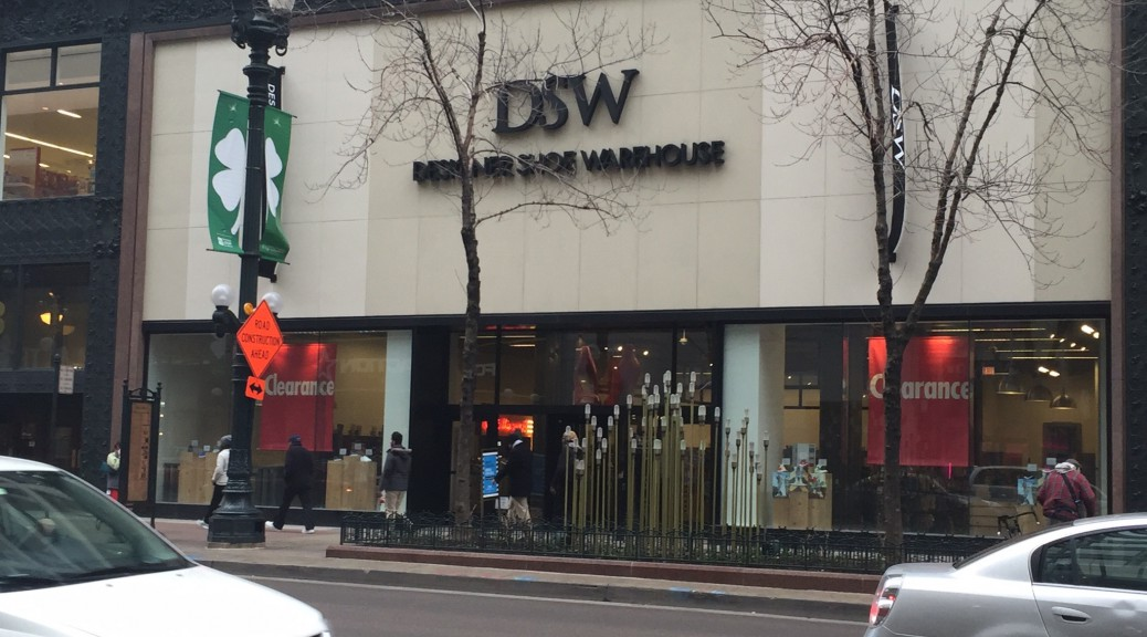 DSW's Chicago State St. location enjoys moderate morning foot traffic.