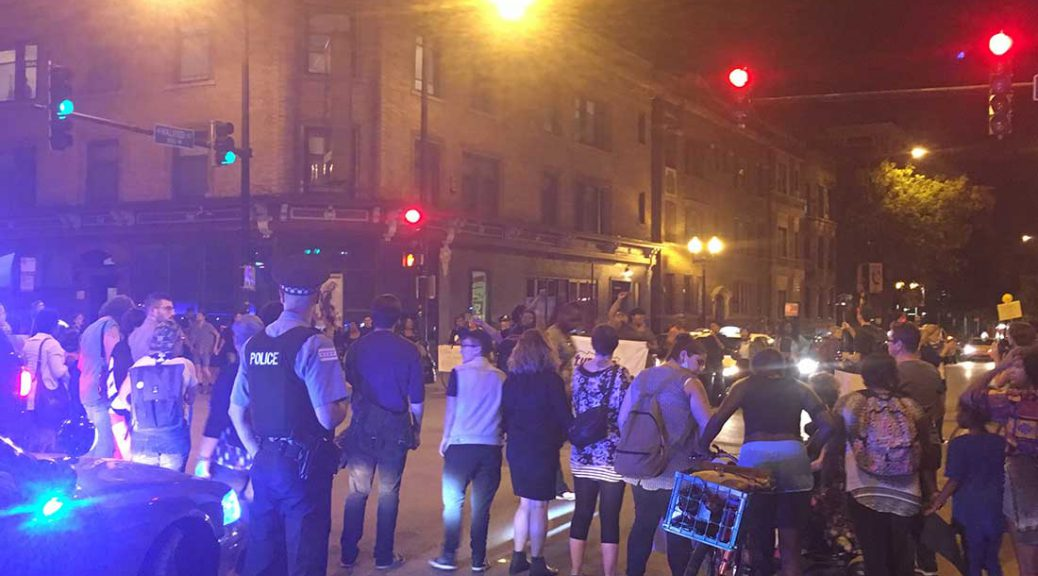 Protestors block the intersection of Halsted and Belmont demanding justice for black trans lives on October 5
