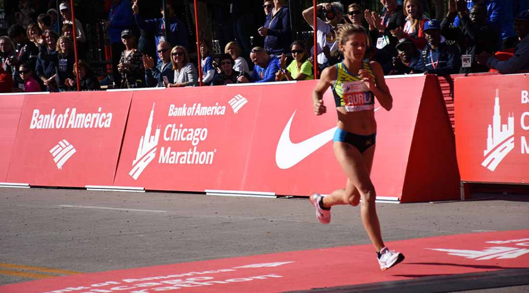Serena Burla crossing the finish line at the Chicago Marathon on Oct. 9, 2016.