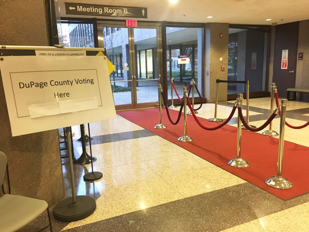 At the Naperville Municipal Center, voter turnout has been lower than expected (Anna Foley / MEDILL)
