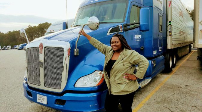 Cania Eubanks, 32, of Chicago, was the only female student out of a class of 20 in truck driving school. (Courtesy of Cania Eubanks)