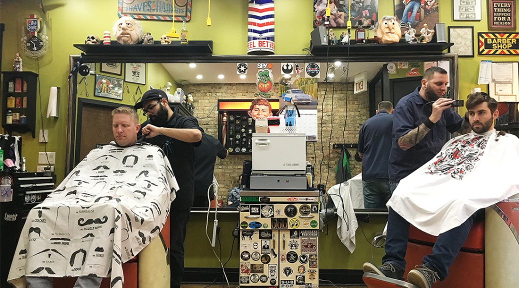 Johnny Lopez (left) and Pete Huels work at Pete's Barber Shop. (Shen Lu/MEDILL)
