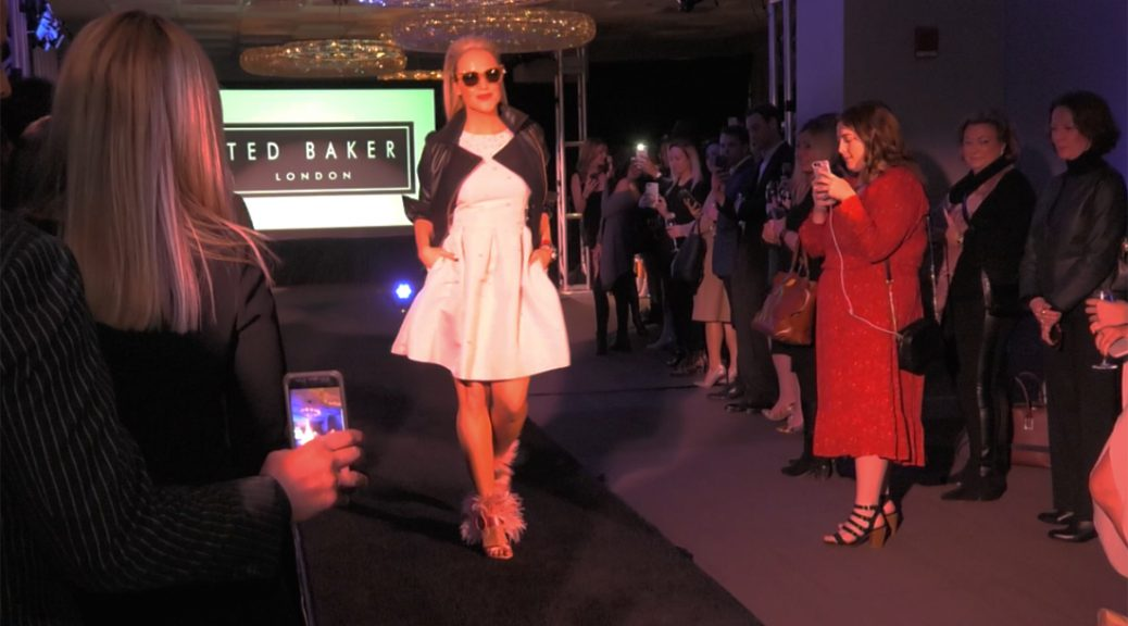 A model walking for Ted Baker at the Oak Street Council fashion show at the Thompson Hotel Chicago
