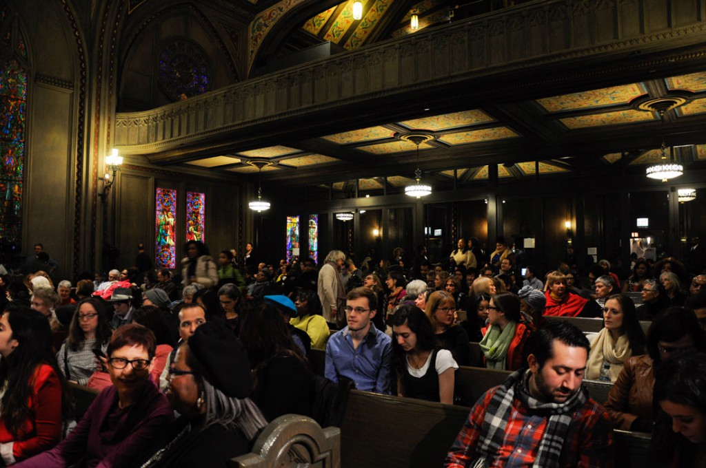Roughly 450 people fill the lower level and the balcony of the Chicago Temple on Saturday for the Chicago Women Take Action mayoral forum. (Kate Medill/MEDILL)