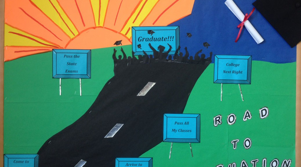 Road to education success bulletin board