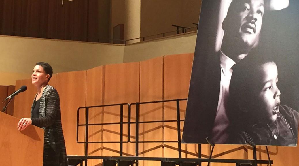 Michelle Alexander addresses Northwestern Uni. community at keynote address.