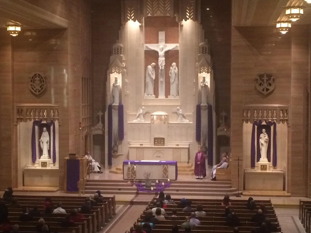 """Archbishop Blase Cupich gives the homily at his 7:30 a.m. Mass at St. Peter's in the Loop Wednesday. """"Ashes that are placed on our forehead today remind us of our own mortality,"""" Cupich said."""