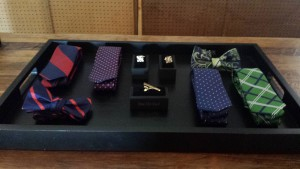 Tie bars, cuff links, bow ties and neckties on display at The Tie Bar in Lincoln Park. (Mallory Hughes / Medill)