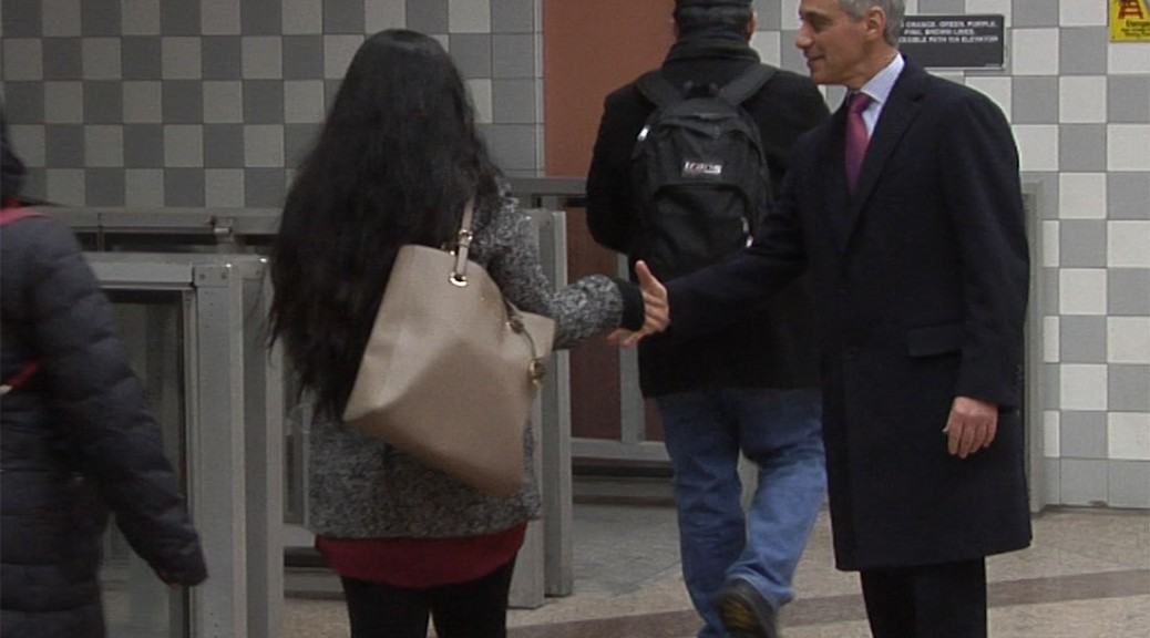 Rahm Emanuel shakes hands at the Clark and Lake CTA stop, Wednesday, February 25, 2015