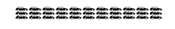Greenhouse gas emissions generated in the production of food that is discarded, represented by passenger vehicles. Each car represents one million cars. In the U.S., the greenhouse gas emissions from wasted food was equivalent to the annual emissions from 33 million cars.