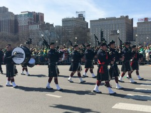 Bagpipers at downtown St. Patrick's Day parade