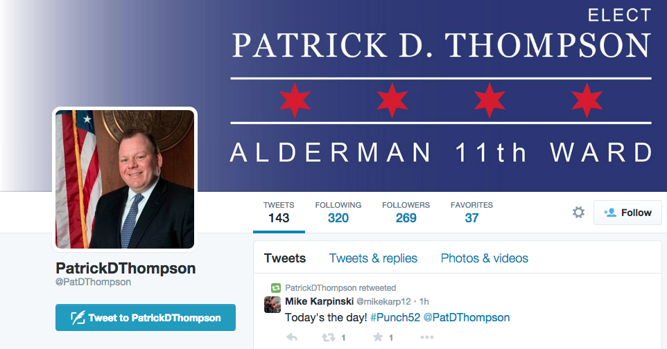 A screen shot of Patrick D. Thompson's Twitter page, an aldermanic candidate for the 11th ward. Daley is in a runoff election with John Kozlar for the open seat.  (Patrick D. Thompson/Twitter)