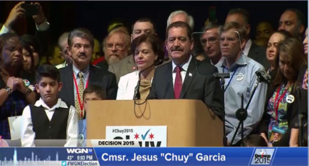"""Chuy"" Garcia delivers concession speech shortly after 9 p.m. on Tuesday."