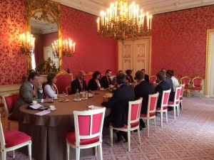 A small group of American journalists met with the king Wednesday to discuss his upcoming trip to the U.S.