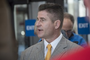 """Daniel Herbert, lawyer for Jason Van Dyke, issues a statement following an initial bond hearing Nov. 24. Though he declined to take questions, Herbert urged that the case be tried in court, not """"in the streets, in the media and on Facebook."""" (Steve Musal/Medill)"""
