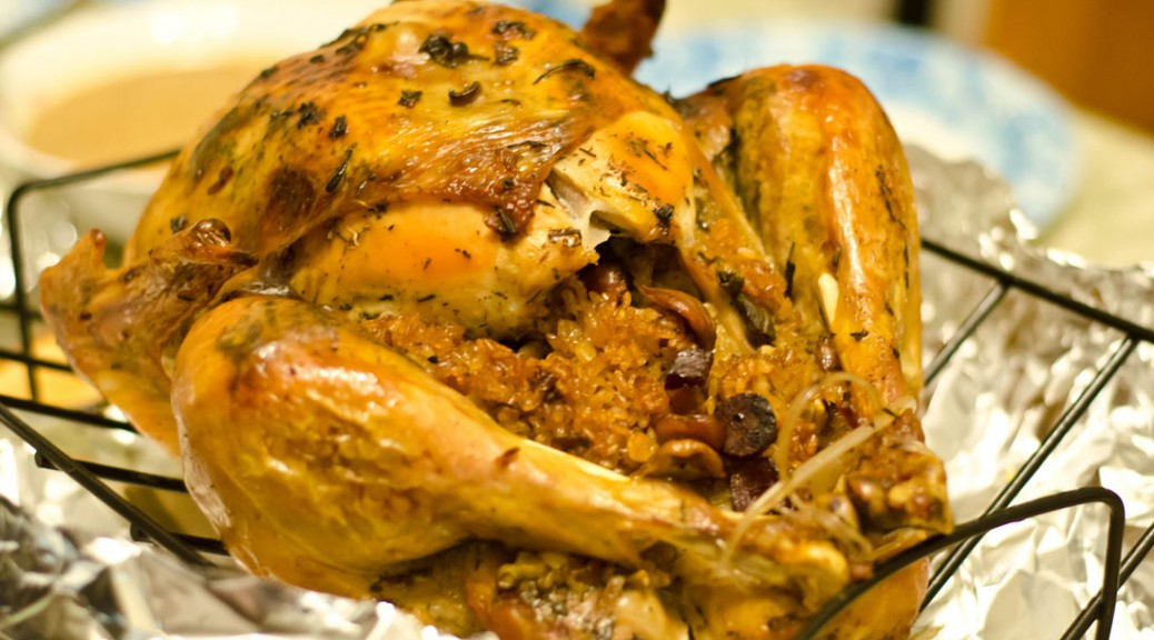 Turkey with sticky rice stuffing