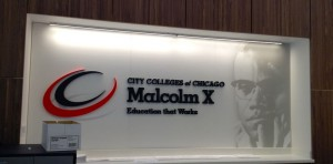 Malcolm X College School Sign in Lobby