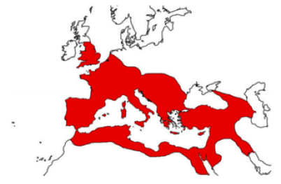 Map of Roman Empire around 117 AD. (Piers Mitchell)