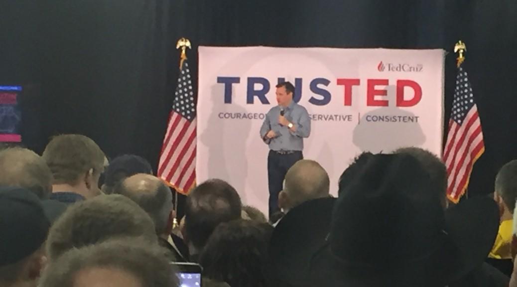 Sen. Ted Cruz speaks at a rally in Iowa City, Iowa.