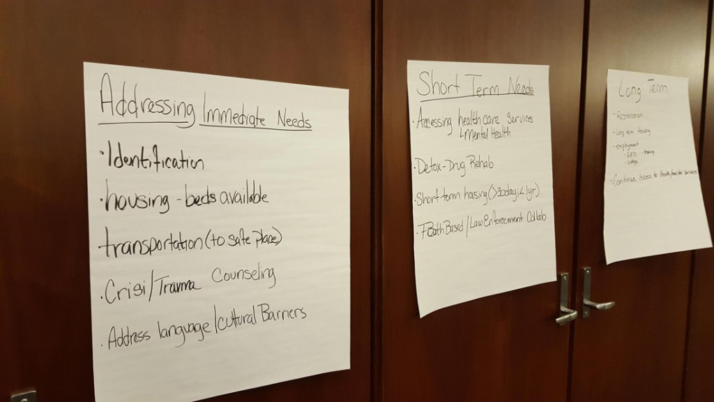At a meeting on Jan. 29, federal officials and faith-based leaders created a list of human trafficking needs (above) to address in the coming year. (Jay Bouchard/MEDILL).