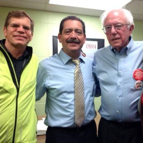 Clem Balanoff with Chuy Garcia and Bernie Sanders