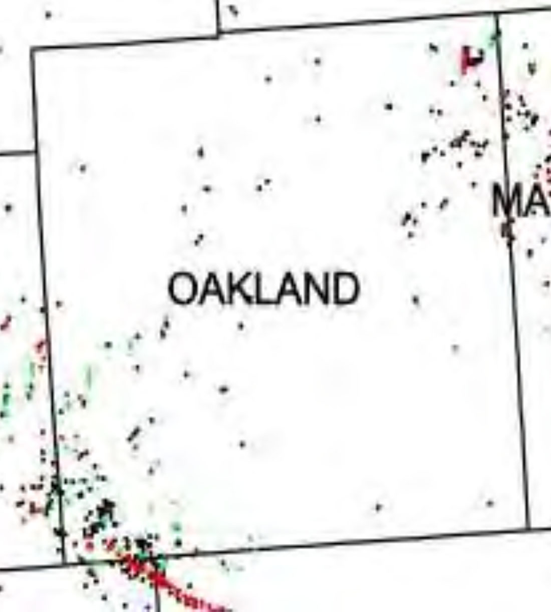 "Map showing ""natural gas and oil activity"" in Oakland County, where Rochester Hills is located. Courtesy of the City of Rochester Hills."