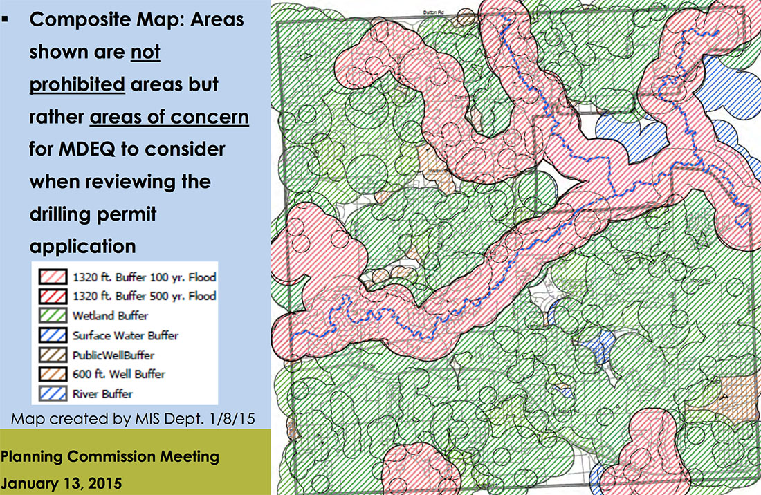 """Map showing """"areas of concern"""" for natural gas and oil production in Rochester Hills created by the MIS Department of the City of Rochester Hills. Map courtesy of the City of Rochester Hills."""