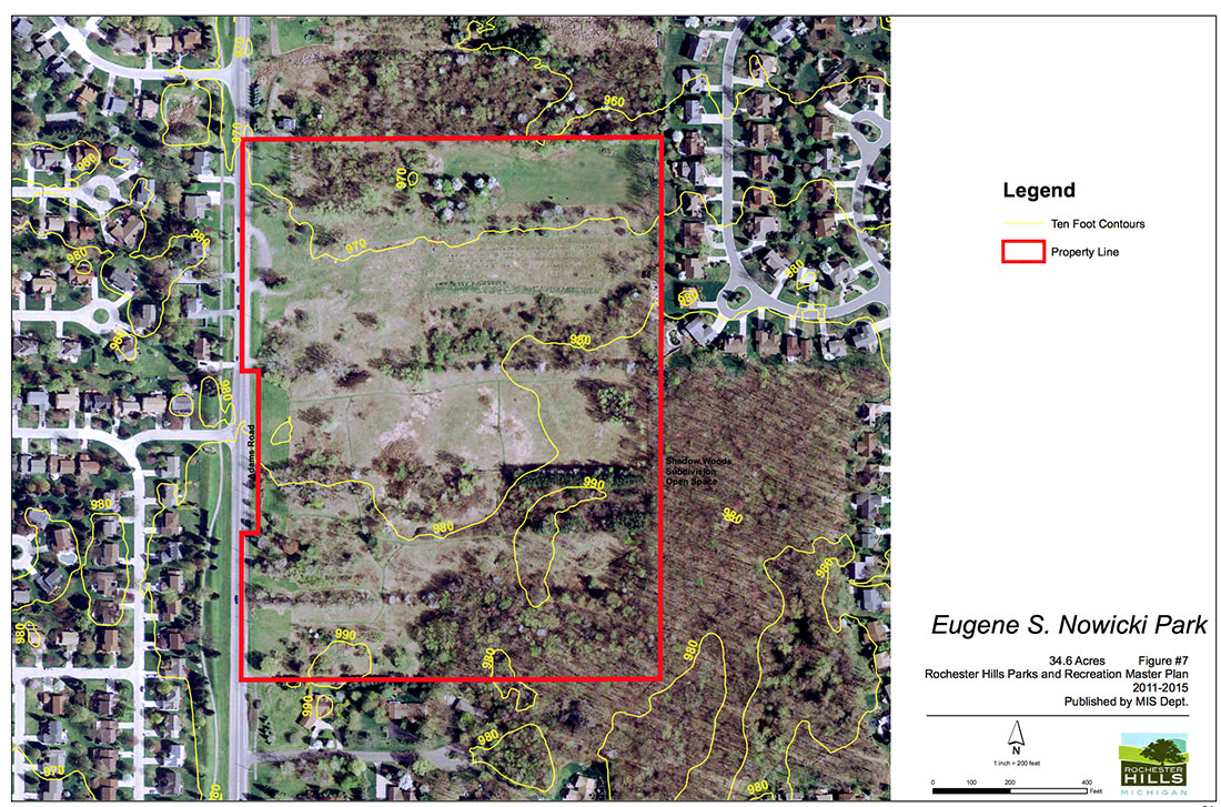 A zoomed in map of Nowicki Park one of the locations covered in the lease. Courtesy of the City of Rochester Hills from the City of Rochester Hills Park and Recreation Master Plan for 2011-2015.