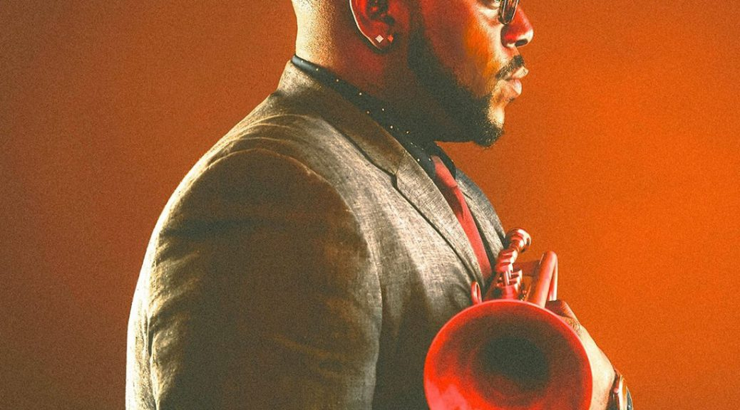 Marquis Hill holding his new trumpet.