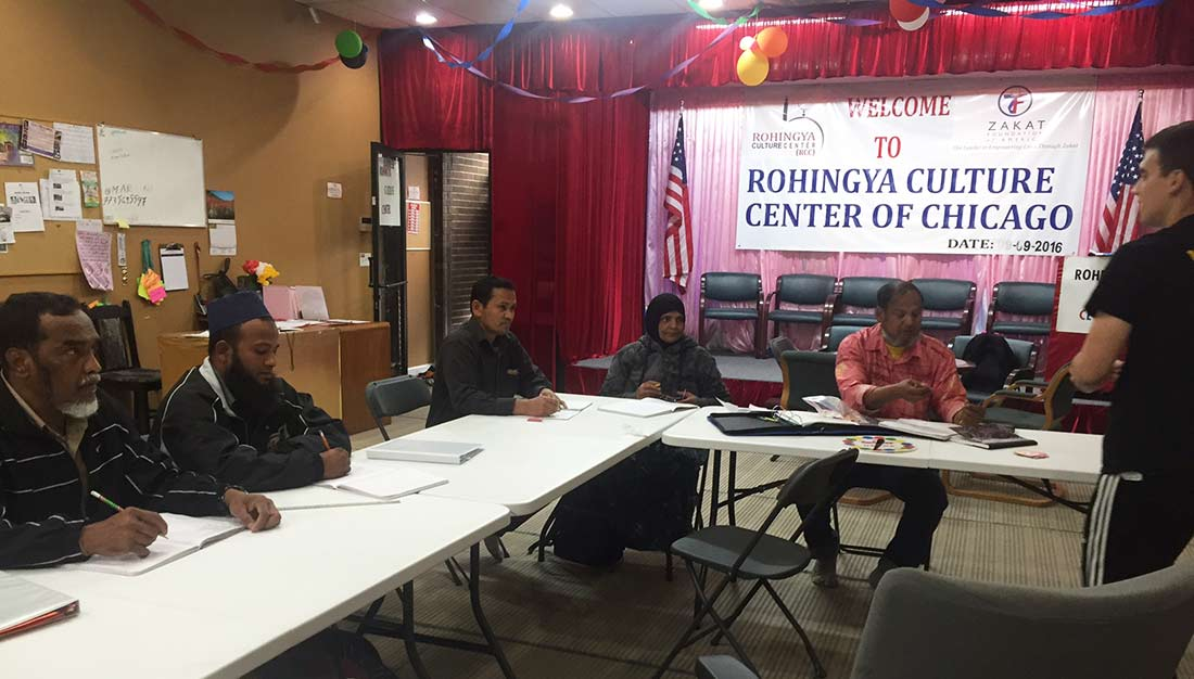 A group of Rohingya take English lessons in Chicago