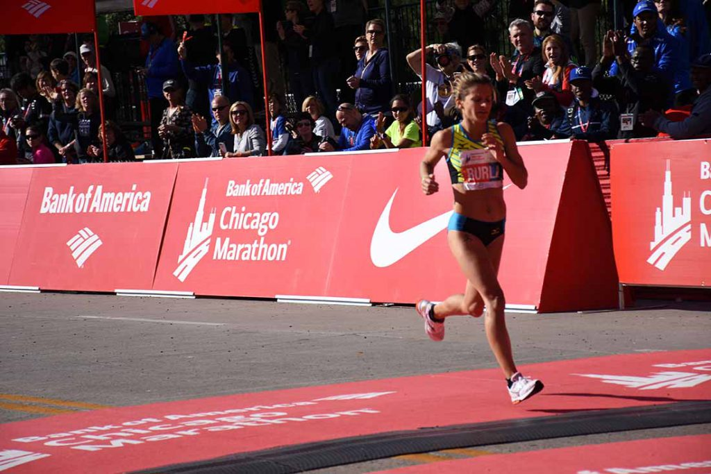 Serena Burla crossing the finish line at the Chicago Marathon on Oct. 9, 2016.
