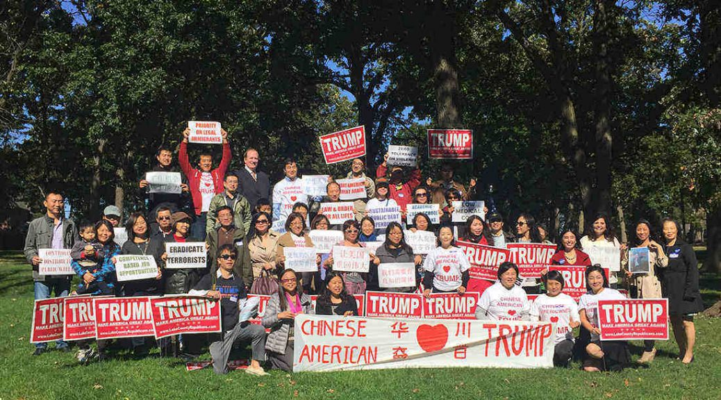 Chinese Americans for Trump group gathering in Hinsdale, IL
