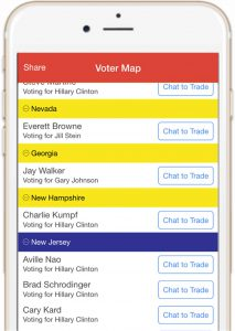 The #NeverTrump app allows voters to trade votes in order to increase Hillary's chances of winning while allowing others to vote their conscience.