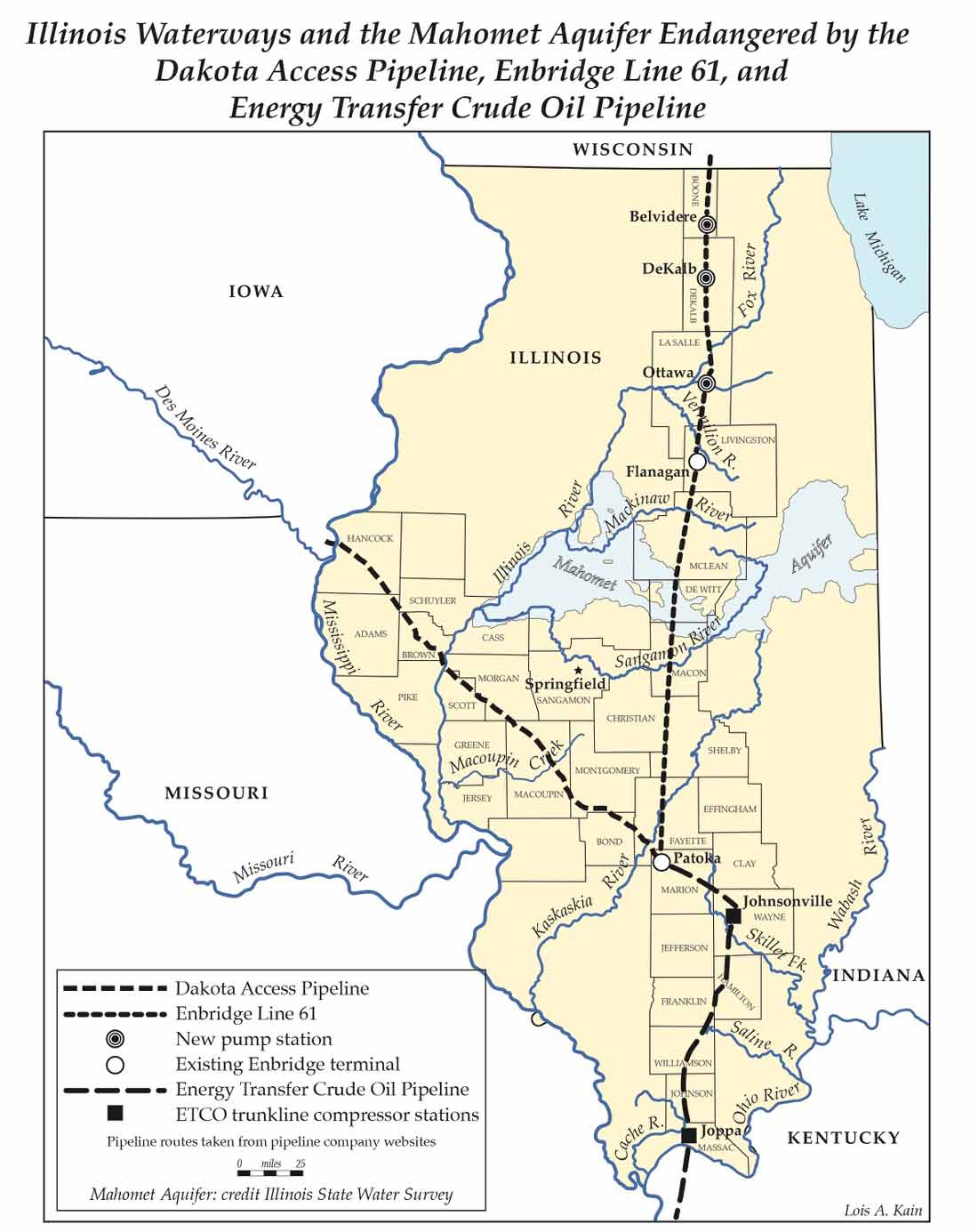 DAPL Illinois Water Resources and Pipelines map by Lois Kain