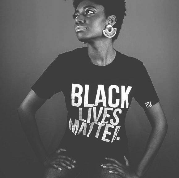 Model wears BLK PROVERBS Black Lives Matter t-shirt