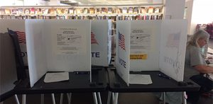 Voting booths set up at the Madison Public Library to facilitate citizens wishing to vote early. (Shahzeb Ahmed/MEDILL)