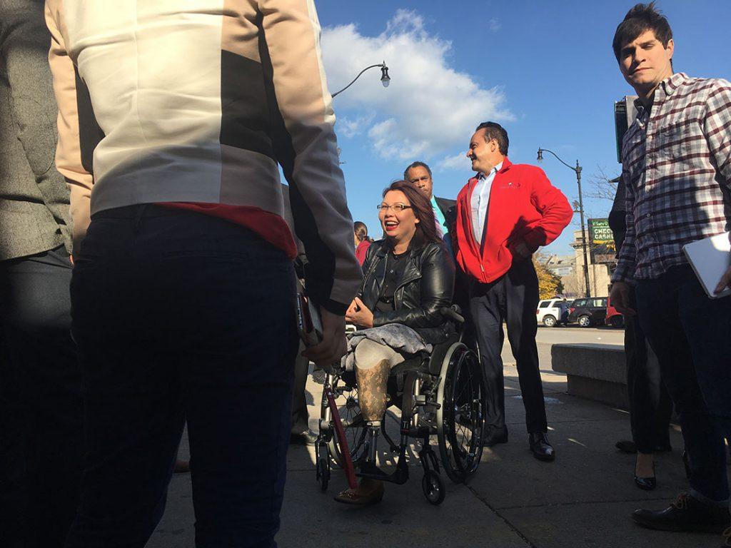 Rep. Tammy Duckworth, Illinois Democrat running for U.S. Senate, stops in Chicago's Pilsen neighborhood on Election Day. (Marianna Brady / MEDILL)
