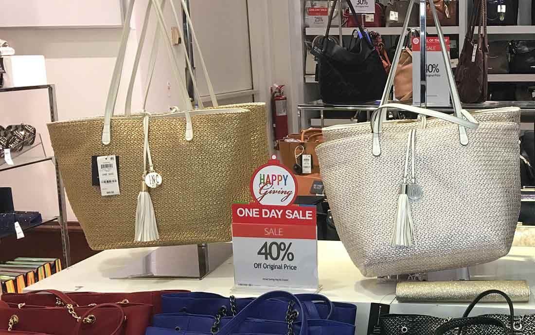 Sale items on display at Macy's