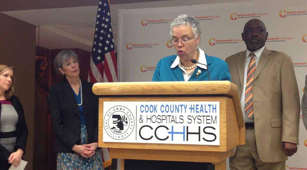 Kathleen Falk, Toni Preckwinkle and Robert Steele at Obamacare press conference at Stroger Hospital