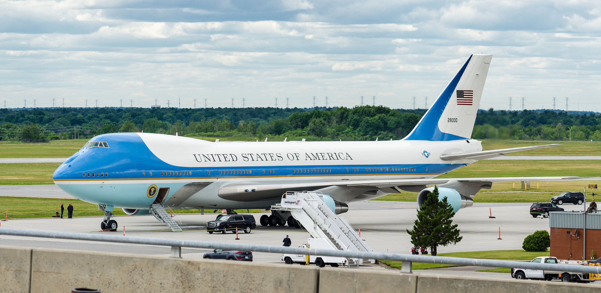 An Air Force One plane parks at the airport. (Photo by Heads Up Aviation via Flickr)