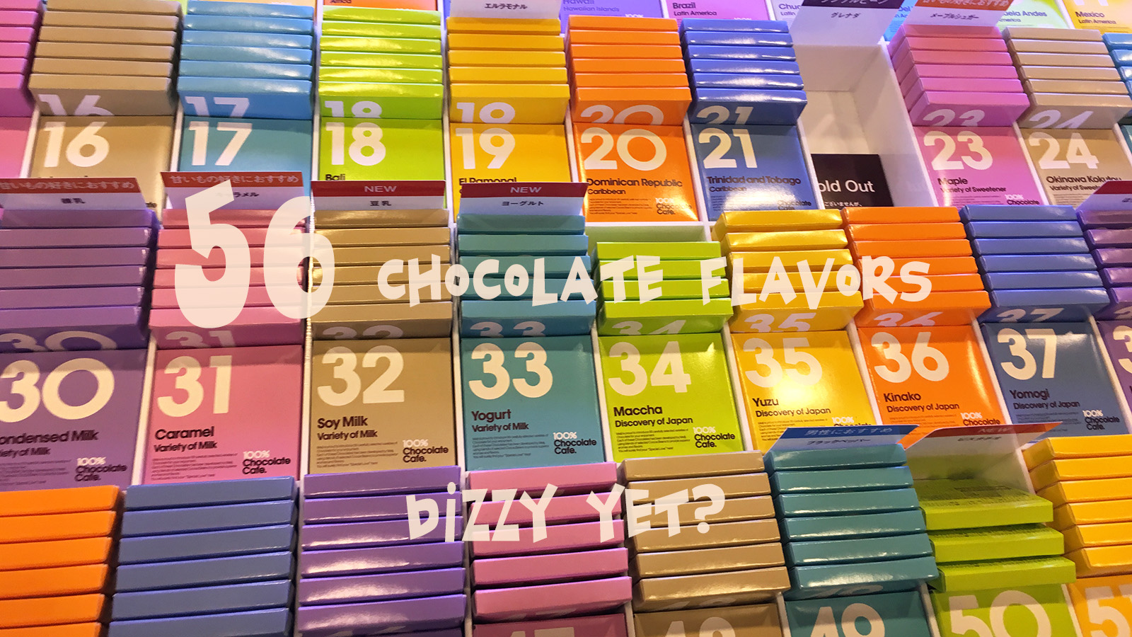 Cheese, soy milk and black pepper are among the whopping 56 chocolate flavors from Meiji's contemporary chocolate boutique, 100% Chocolate Cafe. It's hard to tell if consumers buy the products for the flavors or the colorful and modernist package design. The price ranges from 200 yen to 300 yen per piece ($1.77-$2.66) (Shen Lu/MEDILL)