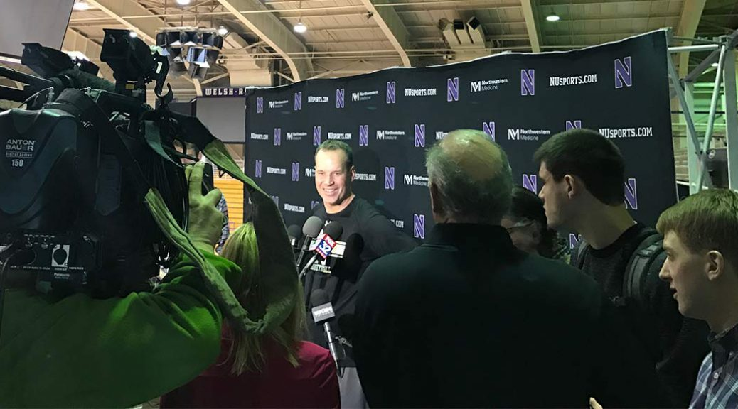 Northwestern basketball head coach Chris Collins answers questions at team press conference in Welsh-Ryan Arena.